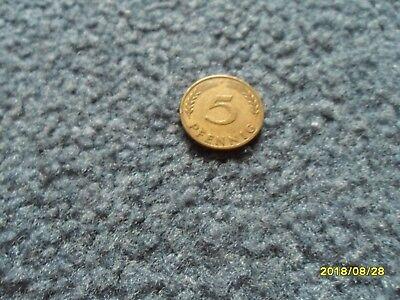 5 Pfennigstück aus dem Jahr 1950 Buchstabe F