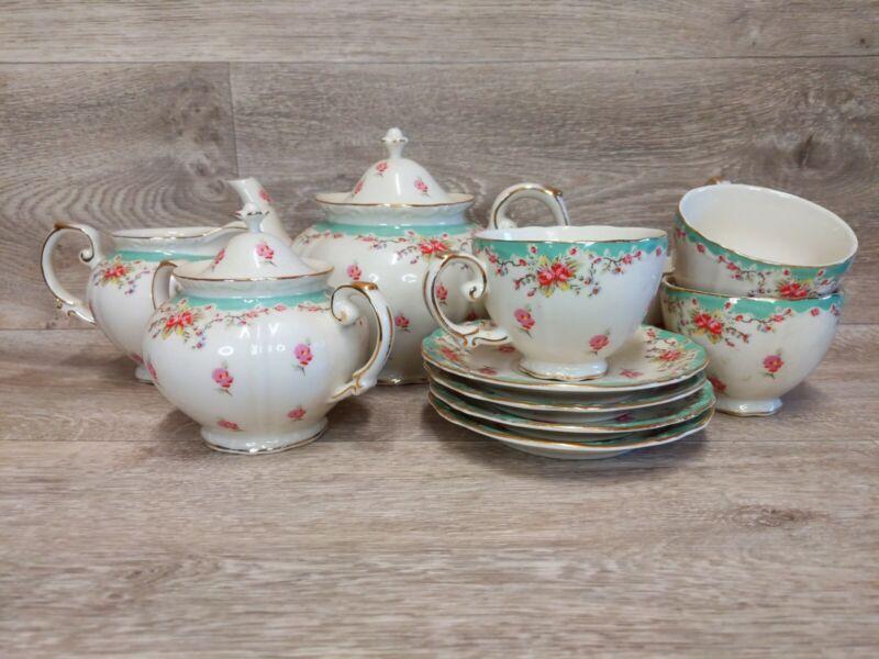 Gracie China by Coastline Imports Vintage Green Rose Porcelain 11-Piece Tea Set,