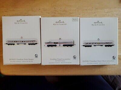 2007 Hallmark Keepsake Ornament Lionel Freedom Train Set of 3 - Locomotive