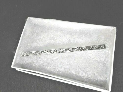 "Antique Art Deco Sterling Silver Collar Bar Pin - 2 1/4"""