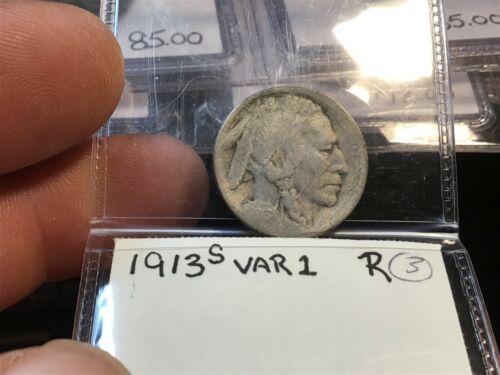 1913-S Type 1 (On Mound) Buffalo Nickel, Lower Mintage Date, Restored Date
