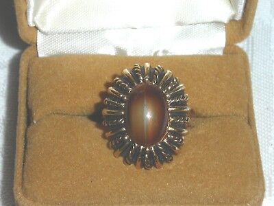 Vintage Retro ring with case,,,cocktail ring, goldtone metal,,,amber stone (Amber Cocktail Ring)