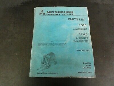 Mitsubishi Fg20 Fg25 Forklift Parts List Manual  1993