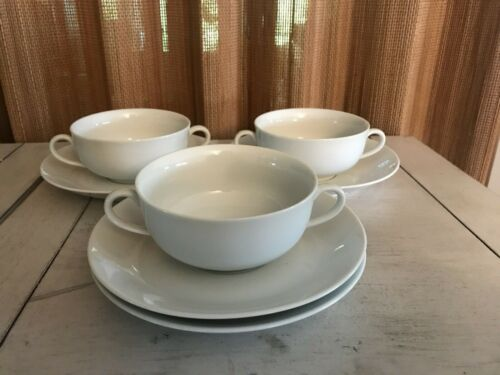 Fitz & Floyd China WHITE SHOULDERS - Lot of 3 CREAM SOUP BOWLS CUPS & 4 SAUCERS