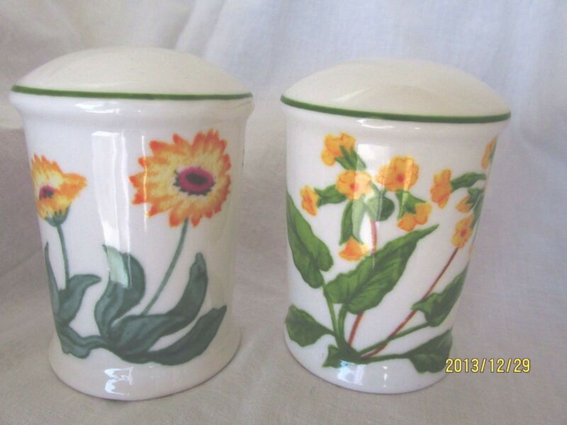 Trisa Butterflies Flowers Fine Stoneware Ceramic Salt & Pepper Shakers