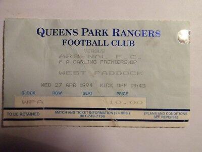 Queens Park Rangers FC - Arsenal FC - 27/04/1994 - Ticket Football England