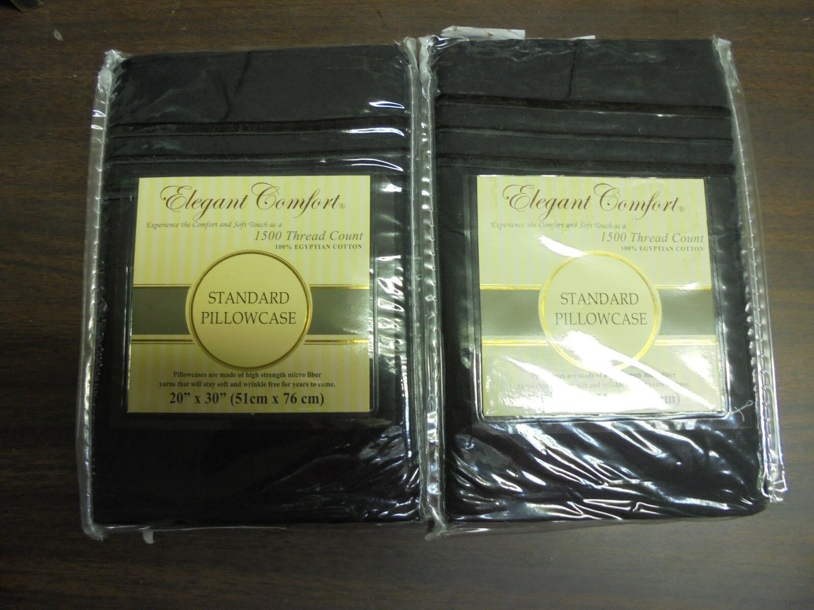 Set of  Elegant Comfort Black 20x30 Standard Pillow Cases