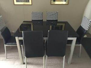 4 seater glass dining set ( expandable to 6 seater) with 6 chairs