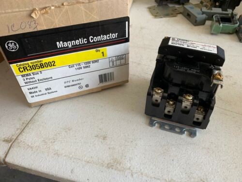 One (1) Genuine GE CR305B002 Magnetic Contactor Size 0,  3 Poles, NOS