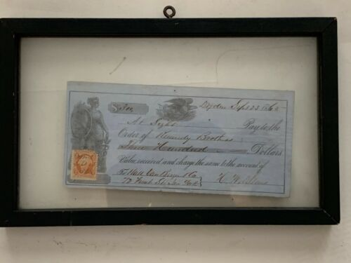 September 23 1865 $300 Antique VTG Check To Kennedy Brothers Please See Pictures