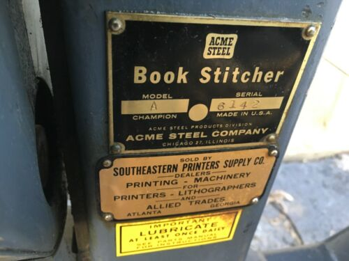 Acme Steel Stitching MachineBook Stitcher Model A champion