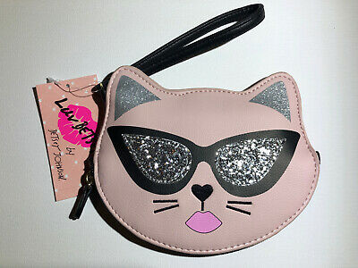 "*NWT* Betsey Johnson ""Luv Betsey"" Cat Coin Purse Wristlet Pink"
