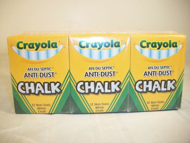 CRAYOLA WHITE CHALK - ANTI DUST - NON TOXIC - 12 BXS - 12 STICKS PER BX - 144 CT