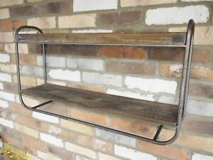 Industrial Style Wood and Metal Retro Wall Shelving Shelf Display