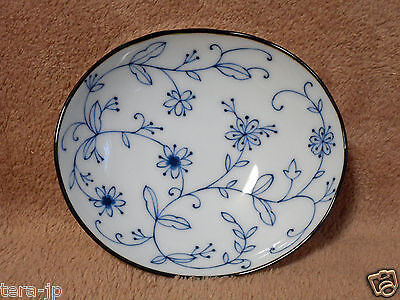 Flower-arabesque Mini Oval Dish Plate Mino-Yaki Pottery Japan Arabesque Flower