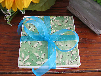 New Snazzy Green Leaves Print Absorbent Stone Coaster Set of 2 w/Bow