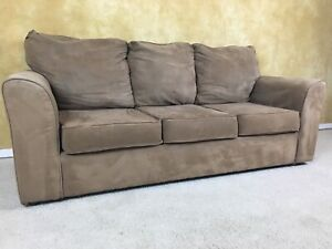 LIGHT BROWN MICROFIBER SOFA FOR $160! DELIVERY AVAILABLE!