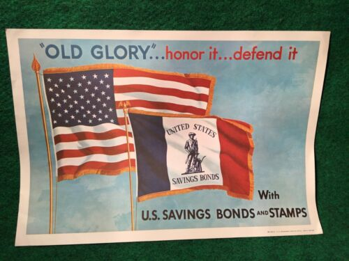 US Savings Stamps & Bonds Original Poster 1968 Vietnam COLD WAR ERA Grade School