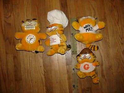 4 Vintage Dakin GARFIELD Plushies Cat Chef Cook Football Player Why Me Glo Clock