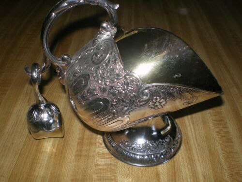 Vintage Sugar Scuttle w Scoop EUC EP Zinc, Floral Engraved Pattern, Silver Color