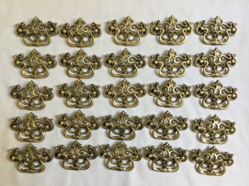 Set of 25 matching Vintage Brass Tone Drawer Pulls Handles Ornate