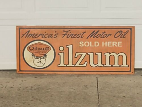 "Oilzum Americas Finest Motor Oil, Sold Here, Painted Metal Sign, 19.5"" x 48"""