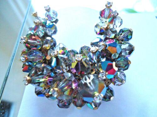 Vtg Estate Laguna Aurora Borealis Crystal Beads Clip on Earrings Brooch
