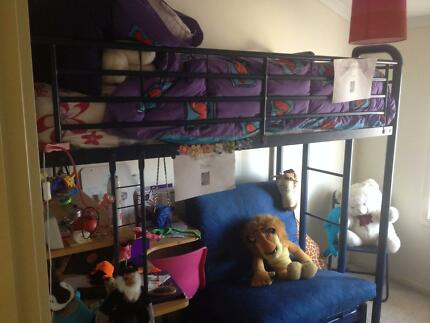 Loft bed with lounge (extra bed) desk and chair underneath Ascot Park Marion Area Preview