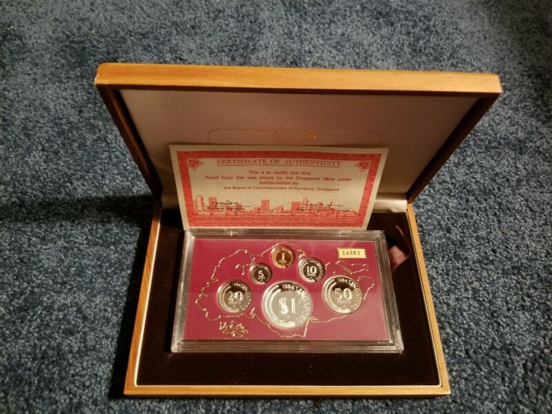 Singapore 1984 Proof Set - Wood Box & COA