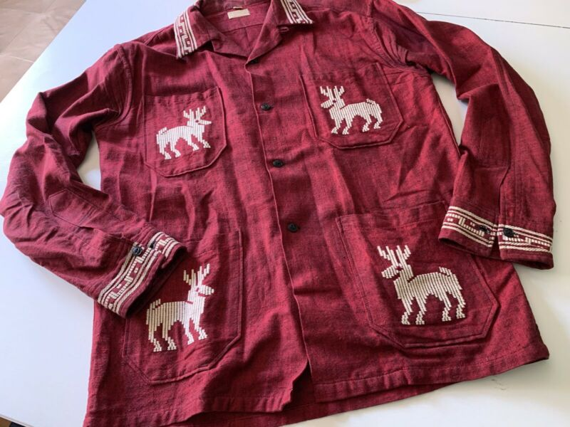 VTG 60s La Regional Guatemala Ethnic Boho Deer Dance Shirt Art Unisex