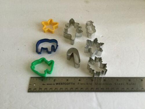 Lot 8 Aluminum Plastic Spring Easter Miniature Cutters fish elephant star tree