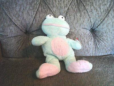 Baby TY Pluffies mint green frog Grins with tag Retired
