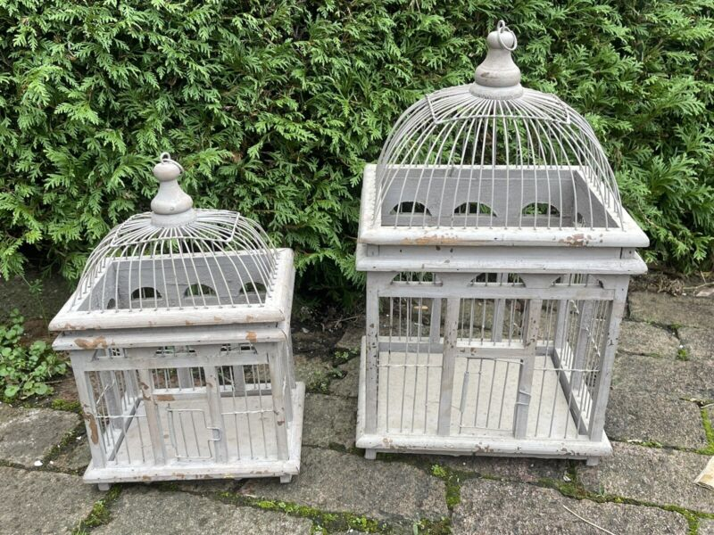 Lot Of 2 Vintage Victorian Style Bird Cage Cages White Wire & Wood