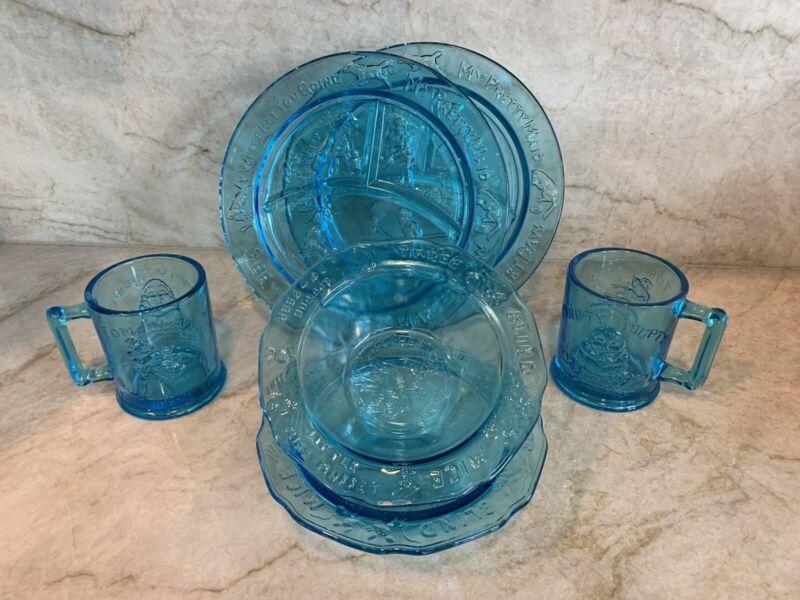 Vintage Indiana Blue Glass Humpty Dumpy Children's Nursery Rhyme 2  Dinner Set