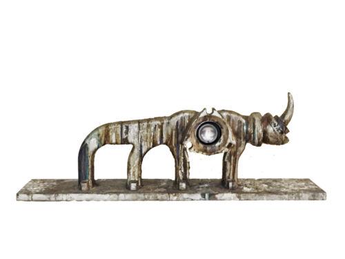 MAGALI, Rhinoceros, Modernistic Duralumin & Wood Sculpture, 1990s