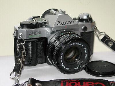 Canon AE-1 Program Camera , Good light seals, Cap, strap. No shutter Squeal.