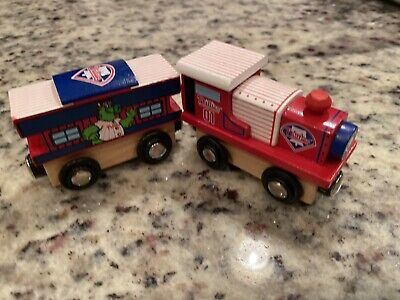 Phillies Wooden Toy Train & Caboose MLB Wood Christmas Kid Boys Gift Set