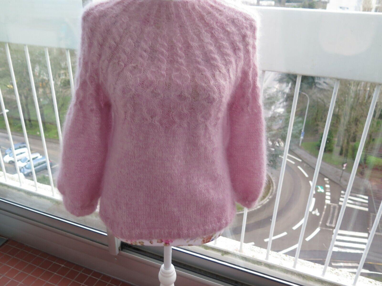 Neuf pull mohair et soie tricote main femme coloris rose modele unique taille s