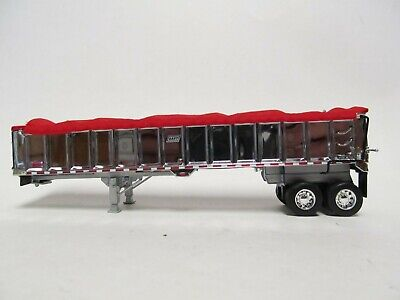 DCP 1/64 SCALE EAST END DUMP TRAILER WITH CHROME SIDES SILVER FRAME RED TARP 2