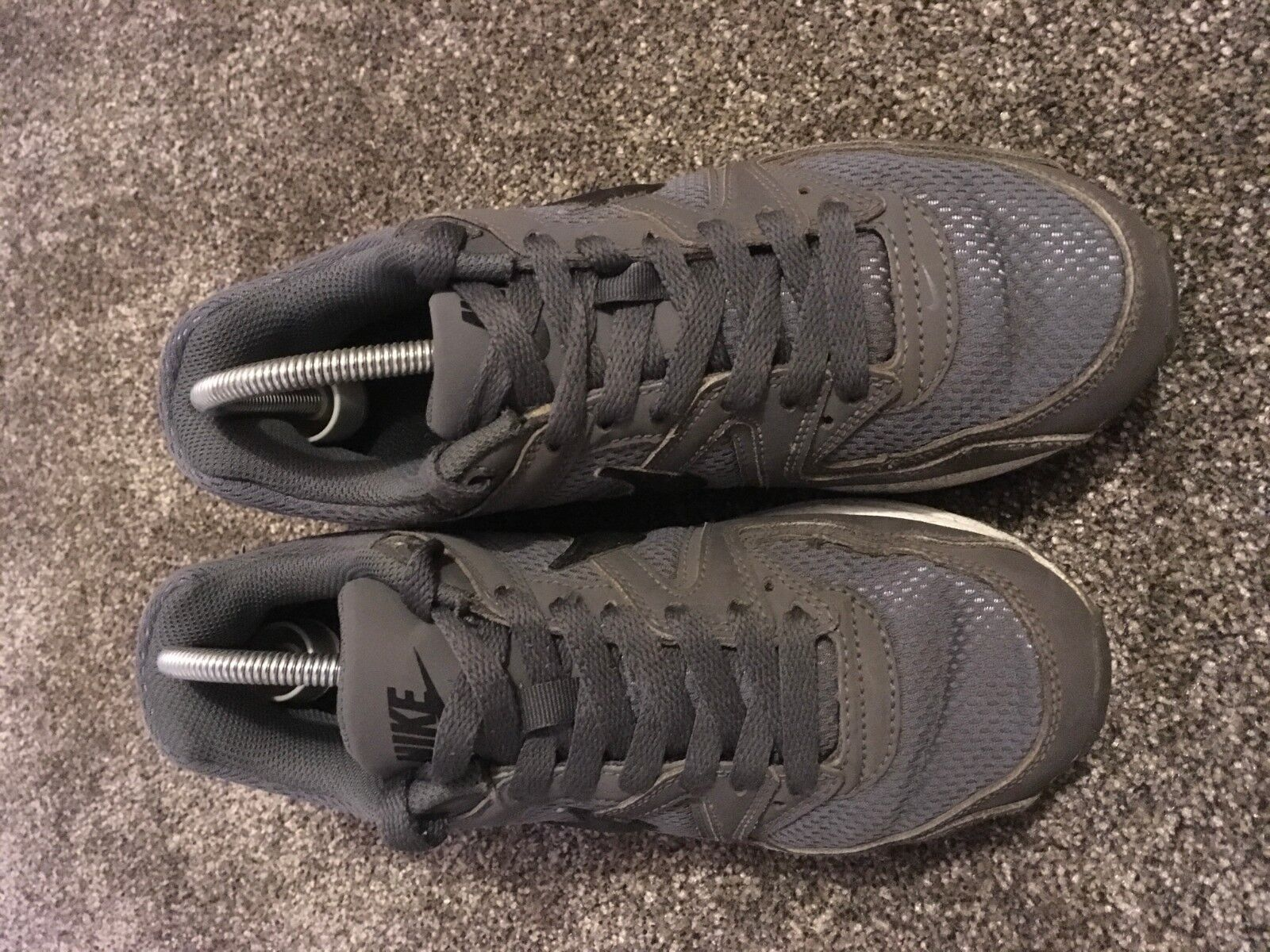 NIKE AIR MAX COMMAND GS BLACK GREY TRAINERS LEATHER SIZE UK 4 EU 36.5