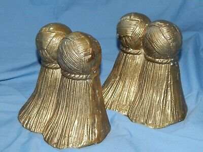 Vintage DECORATIVE CRAFTS INC Solid Brass Bookends TASSELS handcrafted , used for sale  Shipping to Canada