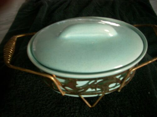 Oval Bauer Pottery Covered Casserol With Metal Serving Stand Blue