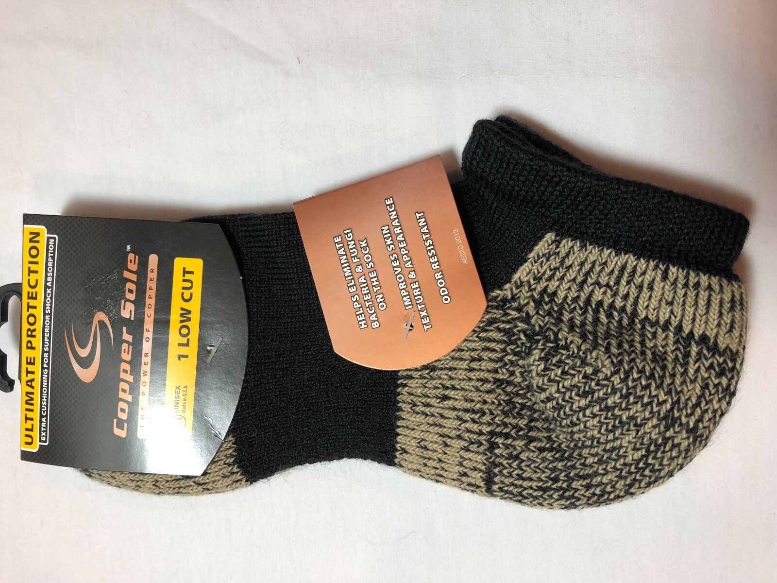 ONE PAIR COPPER SOLE  LO CUT ULTIMATE PROTECTION  UNISE SOCKS BLACK SIZE M SC855 Clothing, Shoes & Accessories