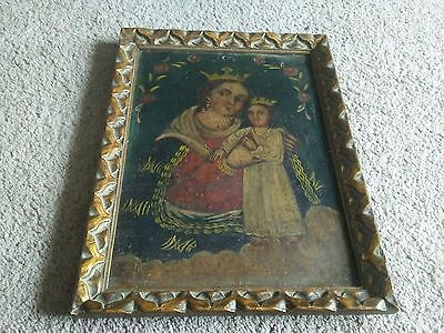 antique painting on metal sheet panel, framed, queen with royal child