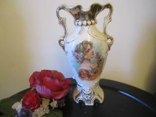 Vintage Victorian Lady Porcelain Portrait Vase Brown Hair Smelling Lilacs