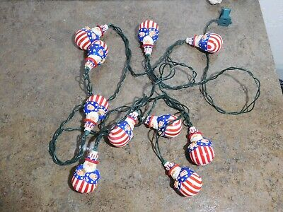 Vintage Christmas 4th of July Holiday Santa Uncle Sam Blow Mold Light String