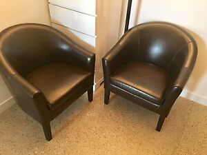 pair of brown leather club chairs in mint condition - Brown Leather Club Chair