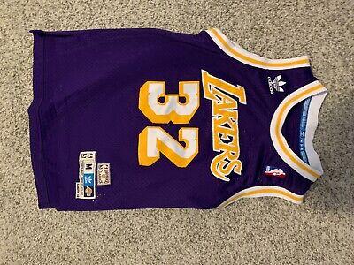 NBA LAKERS basketball Jersey~MAGIC JOHNSON 32~ADIDAS~Hardwood Classics~Boy's M