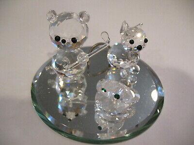 3 Miniature Swarovski Figurines on MIrror Base: Frog, Cat, Bear w Hockey Stick
