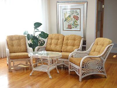 Malibu Rattan Living Set 2 Chairs Loveseat Coffee Table White Wash with Cushions